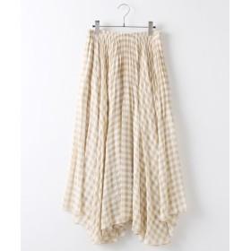 INGEBORG/インゲボルグ ギンガム総プリーツスカート ベージュギンガム フリーサイズ
