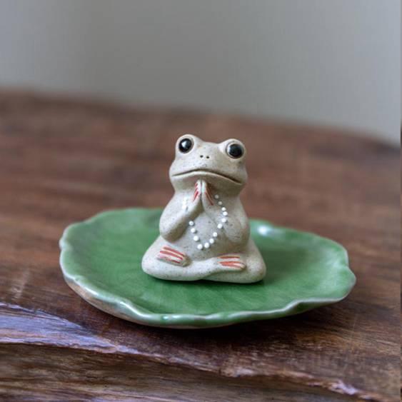 創意陶藝青蛙小茶寵物禪意擺件精品可養個性茶具擺設飾品茶臺裝飾 交換禮物
