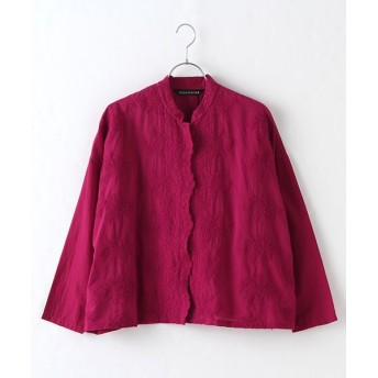 MARcourt/マーコート lace stand collar wide shirt pink FREE