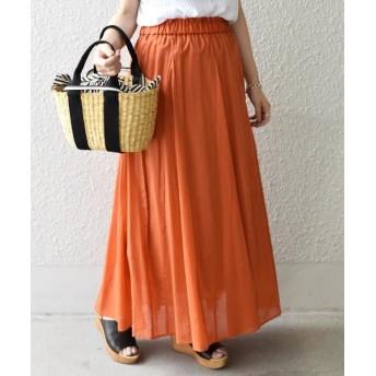 SHIPS for women/シップスウィメン 【手洗い可能】フレアマキシスカート◇ オレンジ ONE SIZE