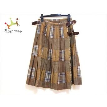 オニール O'NEIL 巻きスカート サイズ10 L レディース 美品 ブラウン×ダークブラウン×マルチ 新着 20191215
