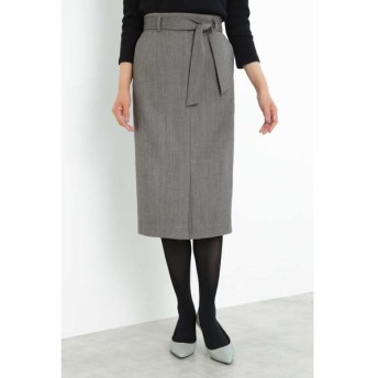 BOSCH/ボッシュ ベルト付ヘリンボーンタイトスカート ブラックヘリンボーン1 38
