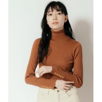 NIMES/ニーム Washable wool袖釦タートルネック キャメル フリー
