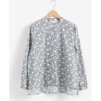 NIMES/ニーム リバティプリント フレンチワークシャツ ブルー フリー