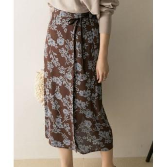 URBAN RESEARCH/アーバンリサーチ サラサフラワープリントタイトスカート BROWN 36