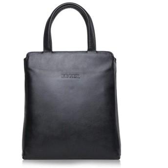 トートバッグ ビジネス メンズバッグショルダーバッグレザービジネスブリーフケースメッセンジャーバッグ垂直カジュアルファッションソフトレザートートバッグ おしゃれ 日常 (Color : Black)