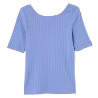 ROSE BUD/ローズ バッド リブ5分丈Tシャツ ブルー -