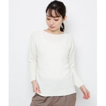 esche/エッシュ 毛混バイヤス切り替えニット オフホワイト(003) 42(L/ミセス)