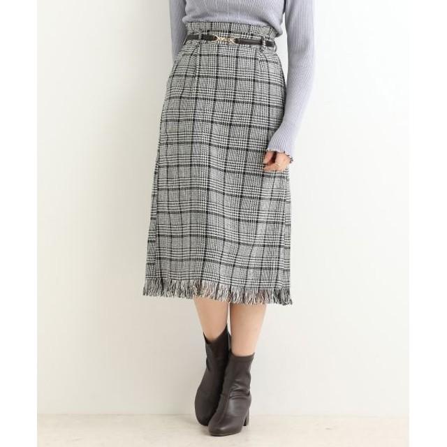 MAJESTIC LEGON/マジェスティックレゴン 裾フリンジチェックIラインスカート ブラック柄 S