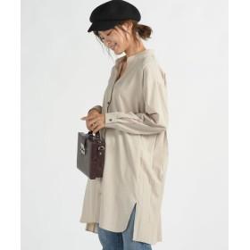MAYSON GREY/メイソングレイ バックプリーツマオカラーシャツ ベージュ S