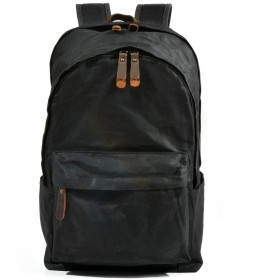 バックパック コンピュータバッグ 大容量 防水 ビジネス オイルワックスキャンバスバッグレトロアウトドアバックパック大容量バックパック おしゃれ アウトドア 日常 旅行 通学 (Color : Black)