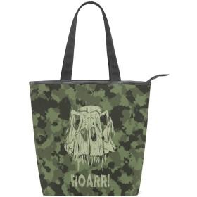 SoreSore(ソレソレ)トートバッグ 大容量 レディース メンズ キャンパス 迷彩 恐竜 可愛い かわいい 個性 バッグ ハンドバッグ A4対応 ファスナー 大きめ 通学 旅行 帆布 プレゼント