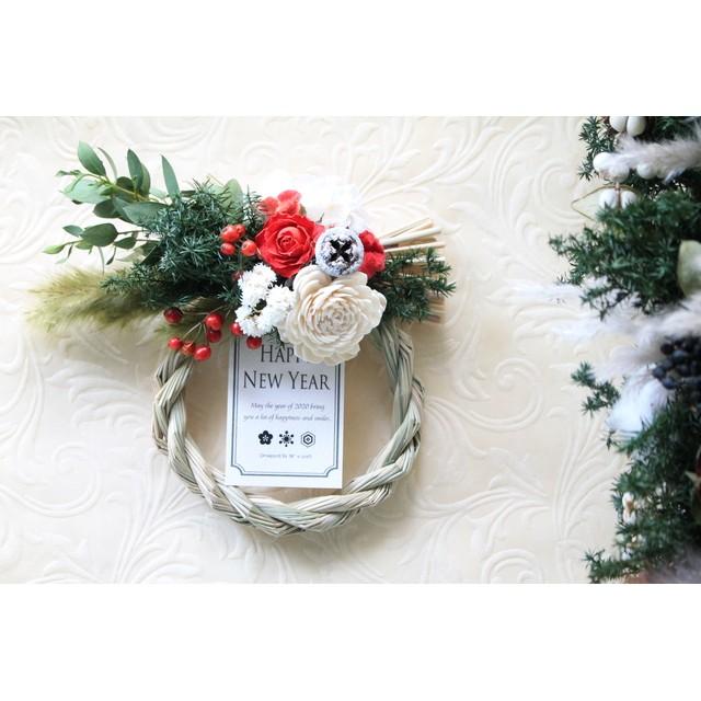 【850円引き】小さな赤い薔薇のお正月飾り・小サイズ no.16