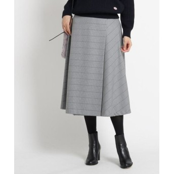 Dessin/デッサン 【S~Lサイズあり、洗える】チェック裏起毛ラップ風スカート ネイビー(293) 02(M)