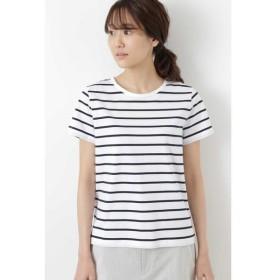 HUMAN WOMAN/ヒューマンウーマン 新きょう綿半袖Tシャツ シロ×ネイビー1 L
