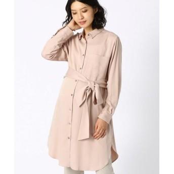 COMME CA BLANC D'OEUF/コムサブロンドオフ 〔マタニティ〕とろみ素材ベルト付きシャツドレス ピンク M〜L