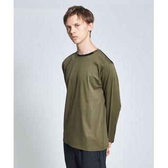 ABAHOUSE/アバハウス シルケットスムース ネックポイントロングTシャツ カーキ 46
