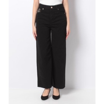 BENETTON (women) 刺繍バックポケットカットオフクロップドワイドパンツ(ブラック)