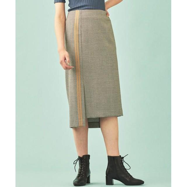 TOMORROWLAND/トゥモローランド ウールハウンドトゥース アシンメトリーIラインスカート 18 ブラック系 36(9号)