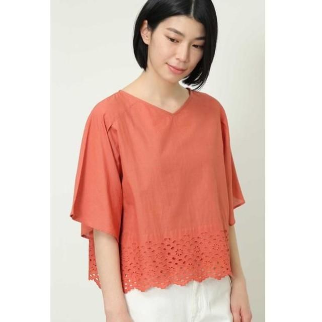 HUMAN WOMAN/ヒューマンウーマン ◆インドカットワーク刺繍ブラウス コーラルオレンジ M