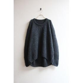 手編みモヘアラウンドネックセーター ブラック