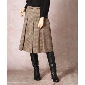 COMME CA/コムサ ブリティッシュチェック ボックスプリーツスカート キャラメル×オレンジ系 3号