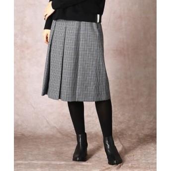 COMME CA/コムサ ブリティッシュチェック ボックスプリーツスカート ブルーグレー×グリーン系 5号