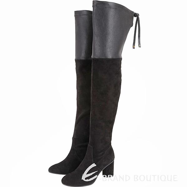 Stuart Weitzman HELENA 75 皮革拼接抽繩過膝長靴(黑色) 1910042-01