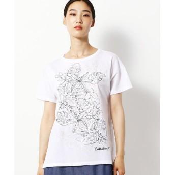Gabardine K.T/ギャバジンK.T トロピカル柄 Tシャツ ホワイト 9号