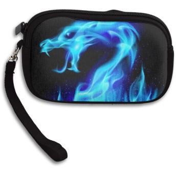 青い炎 スピットファイアチャイニーズドラゴン 小さい財布 小銭入れ カード収納 メンズ ミニ財布 コンパクト財布