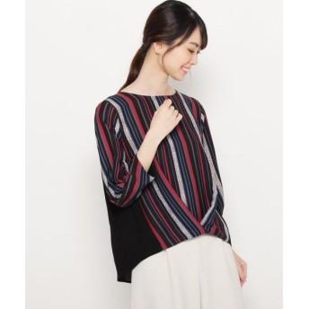 smart pink/スマート ピンク 【手洗い可】オータムマルチストライプシャツ ブラック(319) 42(L/ミセス)