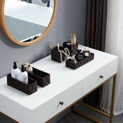 迷你小號型收納盒多格分類桌面雜物茶葉咖啡包首飾品編織儲物筐子