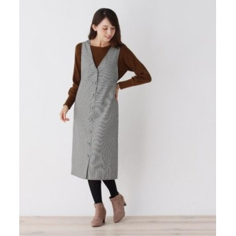 pink adobe/ピンクアドベ ボタンデザイン ジャンパースカート ブラック(219) 38(M)