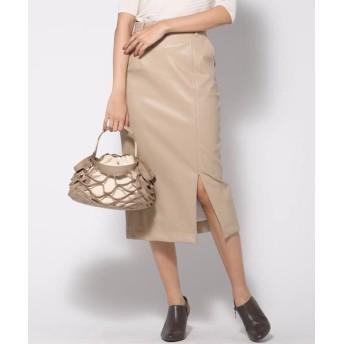 VICKY/ビッキー フェイクレザータイトスカート ベージュ S