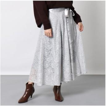 EUCLAID/エウクレイド ラッセルレースロング巻きスカート グレー F