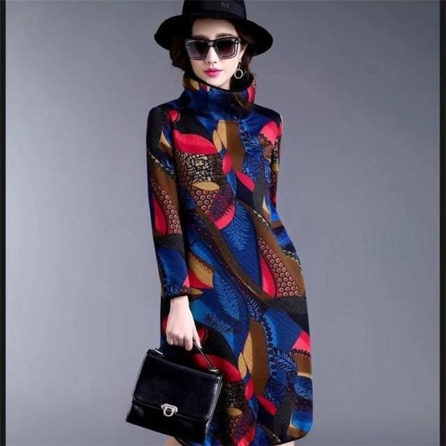 ◆早割◆秋冬物新登場♪4color♪ウールの秋と冬のワンビース 2019新しい 女性のヨーロッパとアメリカのファッション ハイカラー 長袖 プリントワンビースの女性