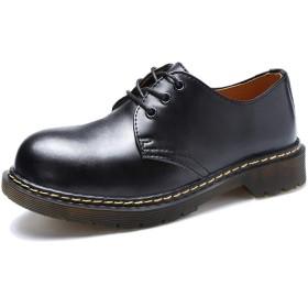 [KEENPACE] マーチンシューズ 3ホールシューズ レディース メンズ 本革 ポストマンシューズ 3アイシューズ エンジニアシューズ カジュアルシューズ ブーツ 男女兼用 3ホール 黑 27.0cm