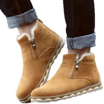 [QH-JP] ムートンブーツ メンズ 男性用 スニーカー 裏起毛 暖かい 大きいサイズ 雨・雪・晴れ兼用 防水防寒靴 スノーシューズ防滑アウトドアウィンターブーツ綿雪靴滑り止め おしゃれかっこいい通勤通学 26cm 1516 イエロー