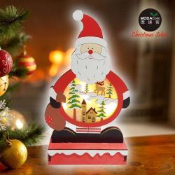 摩達客 木質製彩繪聖誕老公公造型聖誕夜燈擺飾 (電池燈)