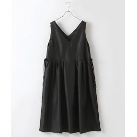 INGEBORG/インゲボルグ Vネックベルベットアクセントジャンパースカート ブラック フリーサイズ