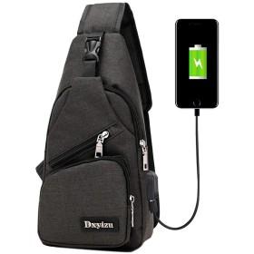 NANNRE ショルダーバッグ ボディバッグ メンズ ワンショルダーバッグ 斜めがけ 軽量 防水 大容量 USBポート付き 多機能 カバン 左右肩掛け可能 旅行 通勤 通学 登山 旅行 (ブラック)