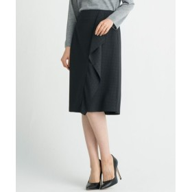 自由区/ジユウク 【洗える】SATIN JACQURAD スカート ブラック系 42