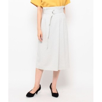 Modify/モディファイ リネーラオックスラップ風スカート ライトグレー(011) 40(M/ミセス)