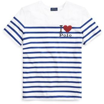 POLO RALPH LAUREN/ポロ ラルフ ローレン Polo ストライプド グラフィック Tシャツ B35ブルー S