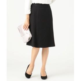 S size ONWARD(小さいサイズ)/エスサイズオンワード 【セットアップ対応】リップルボーダーストレッチ スカート ブラック 0