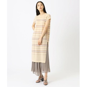 COMME CA/コムサ リネンボーダーニット ドレス ベージュ系 9号