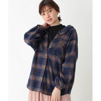 SHOO・LA・RUE/シューラルー 【S-L】ドッキングチェックシャツ ネイビー(293) 01(S)