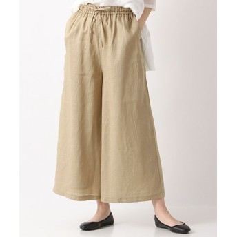 MARcourt/マーコート linen tucked easy PT with belt beige 2