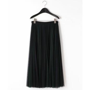 COMME CA/コムサ ソフトチュールプリーツスカート ブラック×グリーン 7号