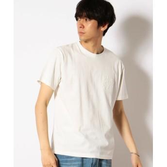 Purple & Yellow/パープルアンドイエロー エンボスロゴ Tシャツ ホワイト L